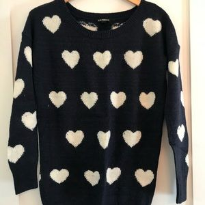 Express navy knitted sweater with white hearts